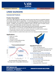 Lined Silencers Product Sheet